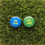 He/Him buttons - Double Denim Dude