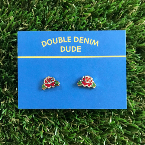 Rose Earrings - Double Denim Dude