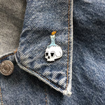 Skull + Candle enamel pin - Double Denim Dude