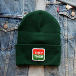 They/Them Patch Beanie--orange/green