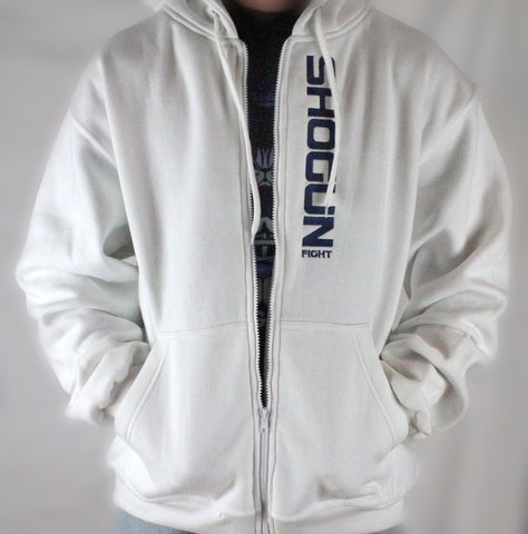 Shogun Logo White Zipper Hoodie - Shogun Fight Apparel