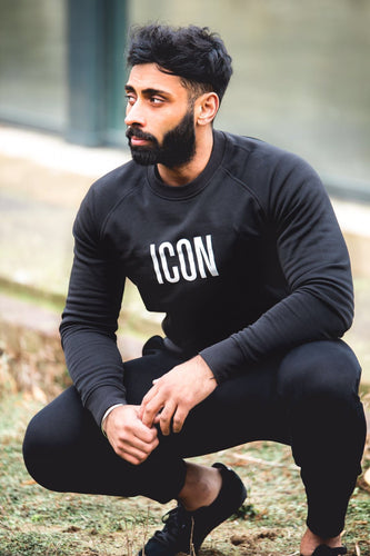 ICON Fitted Sweatshirt-Black