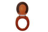 Trimmer ® Polyresin Toilet Seats With Brown And Silver Accent