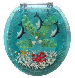 Trimmer ® Polyresin Toilet Seats With Dolphins And Coral In Blue Ocean