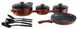 Ceramic Cookware Set, Eco-Friendly Scratch Resistant Non-stick Heavy Gauge Aluminum Non-Toxic PTFE and PFOA Free by Gourmet Chef. 11 Piece Set, Copper