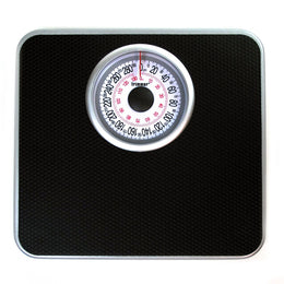 Silver Frame Mechanical Bathroom Scale with Round Large Display - Bodyweight Weighing Scale with Non-Skid No Slip Surface for Home, Gym, Fitness