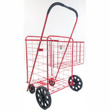ATHome Large Deluxe Rolling Utility / Shopping Cart with Basket - Stowable Folding Heavy Duty Cart with Rubber Wheels For Haul Laundry, Groceries, Toys, Sports Equipment, Red