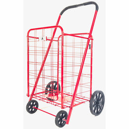 ATHome Large Deluxe Rolling Utility / Shopping Cart - Stowable Folding Heavy Duty Cart with Rubber Wheels For Haul Laundry, Groceries, Toys, Sports Equipment, (Red, XL)