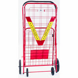 ATHome Extra Large Deluxe Rolling Utility / Shopping Cart - Stowable Folding Heavy Duty Cart with Rubber Wheels For Haul Laundry, Groceries, Toys, Sports Equipment, Red.