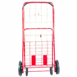ATHome Large Deluxe Rolling Utility / Shopping Cart - Stowable Folding Heavy Duty Cart with Rubber Wheels For Haul Laundry, Groceries, Toys, Sports Equipment, Red