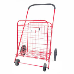 ATHome Medium Deluxe Rolling Utility / Shopping Cart - Stowable Folding Heavy Duty Cart with Rubber Wheels For Haul Laundry, Groceries, Toys, Sports Equipment, Red