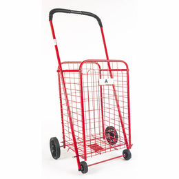 ATHome Small Deluxe Rolling Utility / Shopping Cart - Stowable Folding Heavy Duty Cart with Metal Frame Wheels For Haul Laundry, Groceries, Toys, Sports Equipment, Red