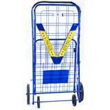 ATHome XXLarge Deluxe Rolling Utility / Shopping Cart - Stowable Folding Heavy Duty Cart with Rubber Wheels For Haul Laundry, Groceries, Toys, Sports Equipment, Blue.