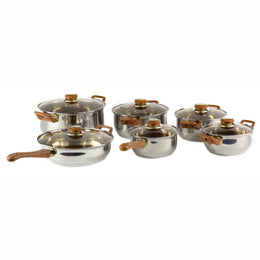 Gourmet Chef 12 Piece Classic Stainless Steel Cookware Set - Dishwasher Safe, Scratch Resistant, Bakelite Handles