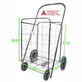 ATHome Large Deluxe Rolling Utility / Shopping Cart - Stowable Folding Heavy Duty Cart with Rubber Wheels For Haul Laundry, Groceries, Toys, Sports Equipment, Black