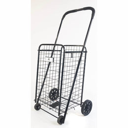 ATHome Small Deluxe Rolling Utility / Shopping Cart - Stowable Folding Heavy Duty Cart with Metal Frame Wheels For Haul Laundry, Groceries, Toys, Sports Equipment, Black