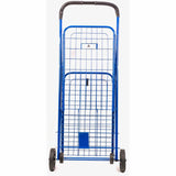 ATHome Small Deluxe Rolling Utility / Shopping Cart - Stowable Folding Heavy Duty Cart with Metal Frame Wheels For Haul Laundry, Groceries, Toys, Sports Equipment, Blue