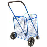 ATHome Medium Deluxe Rolling Utility / Shopping Cart - Stowable Folding Heavy Duty Cart with Rubber Wheels For Haul Laundry, Groceries, Toys, Sports Equipment, Blue