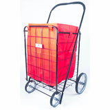 ATHome Eco-friendly Folding Shopping Cart Liner with Closable Cover - Water & Mildew Resistant, Heavy Duty, Breathable Cart For Haul Laundry, Groceries, Toys, Sports Equipment, Red