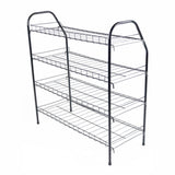ATHome Entryway 4 Tier Shoe Shelf Storage Organizer - Super Space Saving Stackable Metal Shoe Rack Tower For Closet, Cabinet, & Entryway, Black