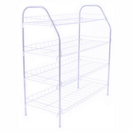 ATHome Entryway 4 Tier Shoe Shelf Storage Organizer - Super Space Saving Stackable Metal Shoe Rack Tower For Closet, Cabinet, & Entryway, White