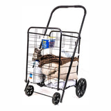 ATHome Large Deluxe Rolling Utility / Shopping Cart - Stowable Folding Heavy Duty Cart with Rubber Wheels For Haul Laundry, Groceries, Toys, Sports Equipment, (Black, XL)