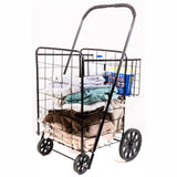 ATHome Large Deluxe Rolling Utility / Shopping Cart with Basket - Stowable Folding Heavy Duty Cart with Rubber Wheels For Haul Laundry, Groceries, Toys, Sports Equipment, Black