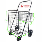 ATHome Large Deluxe Rolling Utility / Shopping Cart with Basket - Stowable Folding Heavy Duty Cart with Rubber Wheels For Haul Laundry, Groceries, Toys, Sports Equipment, Blue
