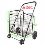 ATHome Medium Deluxe Rolling Utility / Shopping Cart - Stowable Folding Heavy Duty Cart with Rubber Wheels For Haul Laundry, Groceries, Toys, Sports Equipment, Black