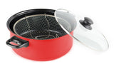 Gourmet Chef JL-5303R Non-Stick Deep Fryer with Frying Basket and Glass Cover, 4.5-Quart, Red