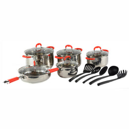 Gourmet Chef 15-Piece Classic 2 Stainless Steel Cookware Set, Dishwasher Safe, Silicone Rubber Handles