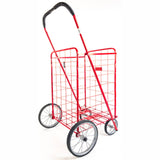 ATHome Large Deluxe Rolling Utility / Shopping Cart - Stowable Folding Heavy Duty Cart with Metal Frame Wheels For Haul Laundry, Groceries, Toys, Sports Equipment, Red