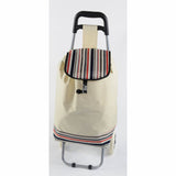 ATHome Shopping Foldable Push or Pull Trolley Dolly Cart - Rolling, Water Resistant, Lightweight, Hard Wearing Two-wheeled Cart For Groceries & Haul Laundry, Nude