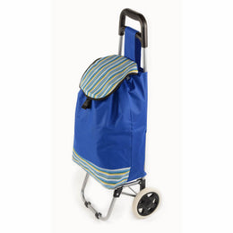 ATHome Shopping Foldable Push or Pull Trolley Dolly Cart - Rolling, Water Resistant, Lightweight, Hard Wearing Two-wheeled Cart For Groceries, Laundry, Beach, Camping, Blue