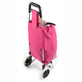 ATHome Shopping Foldable Push or Pull Trolley Dolly Cart - Rolling, Water Resistant, Lightweight, Hard Wearing Two-wheeled Cart For Groceries & Haul Laundry, Pink