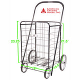 ATHome Large Deluxe Rolling Utility / Shopping Cart - Stowable Folding Heavy Duty Cart with Metal Frame Wheels For Hauling Laundry, Groceries, Toys, Sports Equipment, Black