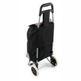 ATHome Shopping Foldable Push or Pull Trolley Dolly Cart - Rolling, Water Resistant, Lightweight, Hard Wearing Two-wheeled Cart For Groceries & Haul Laundry, Black