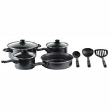 Gourmet Chef Non-Stick Cookware Set - Carbon Steel Finishes Stay Cool Bakelite Handles, Clear Glass Lid, Scratch Resistant Heavy Gauge, 10 Piece, Black