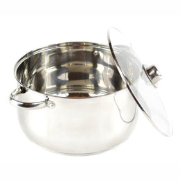 Gourmet Chef 10-Quart Stainless Steel Stock Pot with Glass Lid Kitchen Basics For Home and Restaurants - Large Stockpot with Capsulated Base, Vented Hole on Cover, and Non-heat Riveted Handles