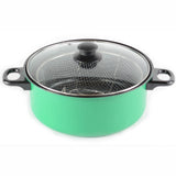 Gourmet Chef JL-5303G Non-Stick Deep Fryer with Frying Basket and Glass Cover, 4.5-Quart, Green