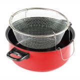 Gourmet Chef JL-5304R Non-Stick Deep Fryer with Frying Basket and Glass Cover, 6.5-Quart, Red