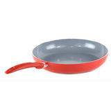 Gourmet Chef Ceramic Eco-Friendly Non-Stick Scratch Resistant Dishwasher Safe Fry Pan Cookware - Heavy Gauge Pan For Home and Restaurants Non-Toxic PTFE and PFOA Free, 12 inch Red