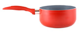 Gourmet Chef 3.0 Fluid Quart Red Ceramic Eco-Friendly Non-Stick Scratch Resistant Dishwasher Safe Saucepan Cookware - Heavy Gauge Pans For Home and Restaurants Non-Toxic PTFE and PFOA Free