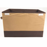 ATHome Foldable Light-Weight Storage Bin Organizer Box with Lid and Handles - Household Closet Essential Containers For Supplies and Accessories, Coffee