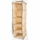 ATHome Hanging Clothes Vertical Storage Box (5 Shelving Units) Durable Accessory Shelves - Easy Set up Closet Cubby, Sweater & Handbag Organizer - Clean & Tidy Wardrobe, Easy Mount, Coffee