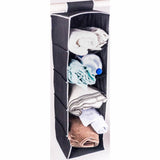 ATHome Hanging Clothes Vertical Storage Box (5 Shelving Units) Durable Accessory Shelves - Easy Set up Closet Cubby, Sweater & Handbag Organizer - Clean & Tidy Wardrobe, Easy Mount, Black