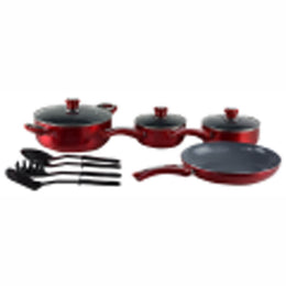 Ceramic Cookware Set, Eco-Friendly Scratch Resistant Non-stick Heavy Gauge Aluminum Non-Toxic PTFE and PFOA Free by Gourmet Chef. 11 Piece Set, Red