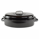 Gourmet Chef Non-stick Coating Oval Roaster with Metal Rack and Lid - Large Turkey Roasting Pan with Chrome Plated Removable Rack, Black