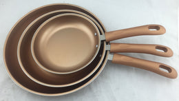 Gourmet Chef - 3 pcs Copper Ceramic Fry Pan Set, 8, 10 & 12 inch