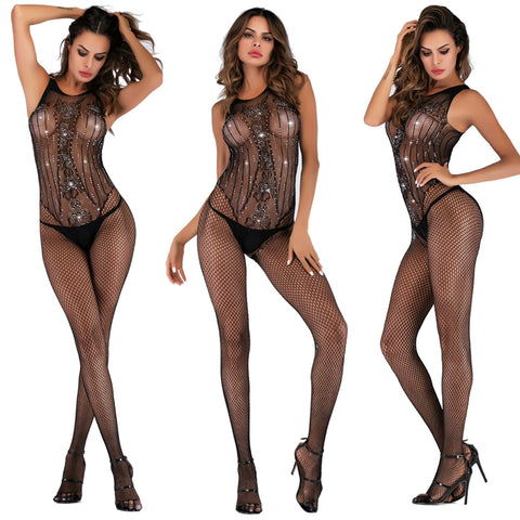 Crystal Fishnet Bodystocking - 5inchesorbettershoes